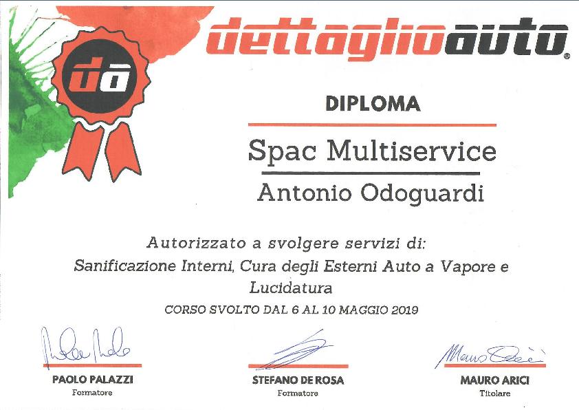 Attestato dettaglio auto Antonio Odoguardi